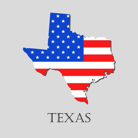 banderas america: Mapa del estado de Texas y la ilustración bandera de Estados Unidos. Mapa de la bandera de América - ilustración vectorial.