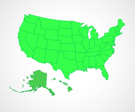 Set of green USA states - vector illustration. Simple flat vector map - United States.