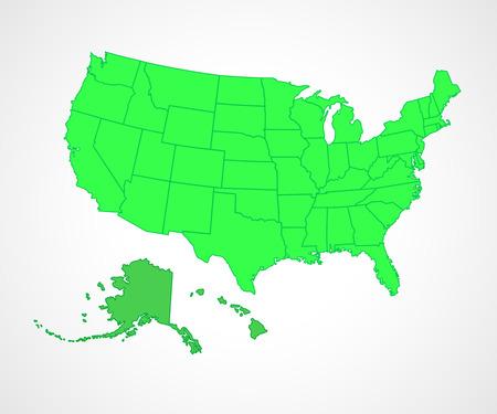 Alaska Vector Map Cliparts Stock Vector And Royalty Free - Us map flat