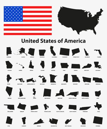individually: Set of black USA states on white background - vector illustration. Simple flat map - United States. USA flag, general map and all states individually. Illustration