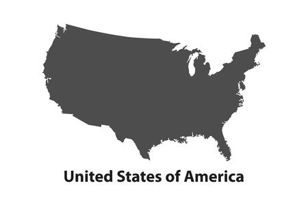 Black USA map - illustration vectorielle. Carte plate simple - États-Unis.