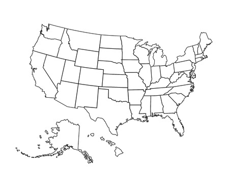 Black USA map - vector illustration. Black contour of United States, Alaska and hawaii.