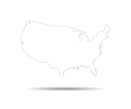 Black USA map - vector illustration. Black contour of United States.