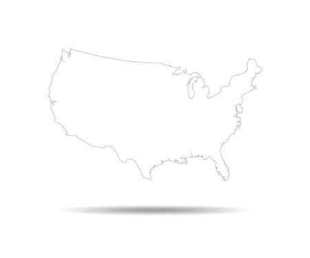 Black USA map - vector illustration. Black contour of United States.