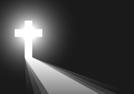 the light rays: Cross icon - vector illustration. Simple Christian cross sign. White cross on black background with rays of light. Concept of the life after death. Illustration