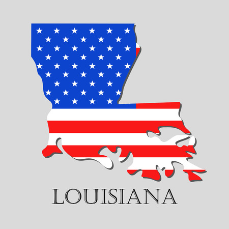 louisiana flag: Map of the State of Louisiana and American flag illustration. America Flag map - vector illustration.