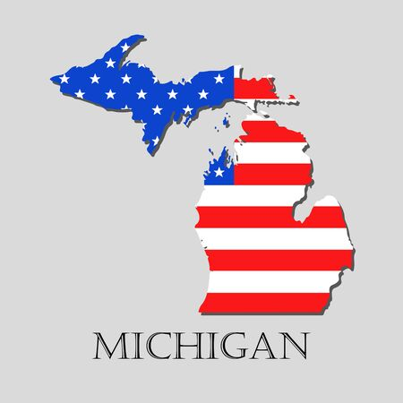 Map of the state of michigan and american flag illustration map of the state of michigan and american flag illustration america flag map vector gumiabroncs Images