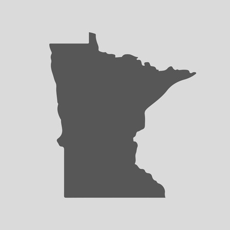 Black map of the State of Minnesota - vector illustration. Simple flat map State of Minnesota.