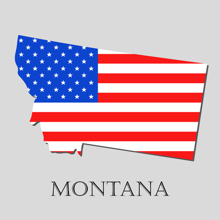 Map of the State of Montana and American flag illustration. America Flag map - vector illustration. Векторная Иллюстрация