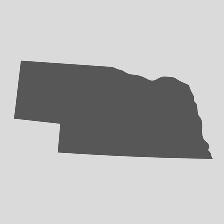 Black map of the State of Nebraska - vector illustration. Simple flat map State of Nebraska.