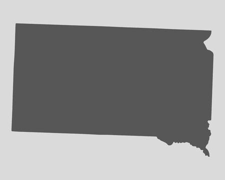 south dakota: Black map of the State of South Dakota - vector illustration. Simple flat map State of South Dakota.