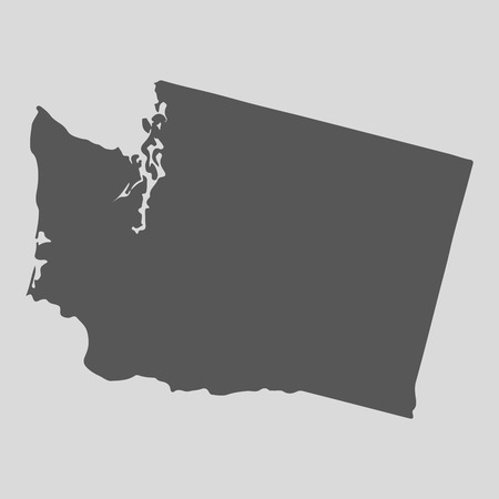 Black map of the State of Washington - vector illustration. Simple flat map State of Washington. Vettoriali
