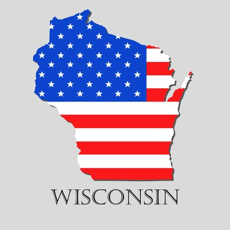 wisconsin flag: Map of the State of Wisconsin and American flag illustration. America Flag map - vector illustration. Illustration