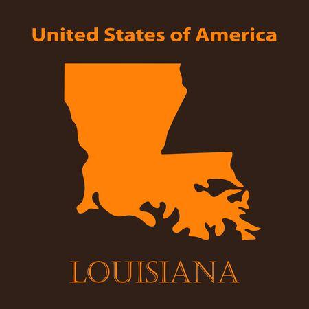 louisiana: Orange Louisiana map - vector illustration. Simple flat map of Louisiana on a brown background.