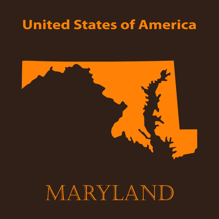 maryland: Orange Maryland map - vector illustration. Simple flat map of Maryland on a brown background.