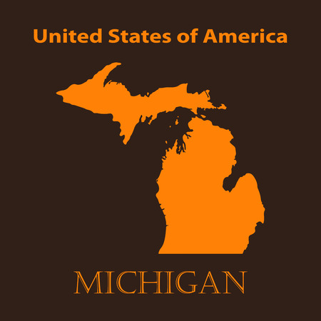 Orange Michigan map - vector illustration. Simple flat map of Michigan on a brown background.