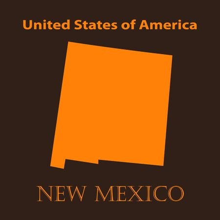 new mexico: Orange New Mexico map - vector illustration. Simple flat map of New Mexico on a brown background. Illustration