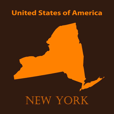 new york map: Orange New York map - vector illustration. Simple flat map of New York on a brown background. Illustration