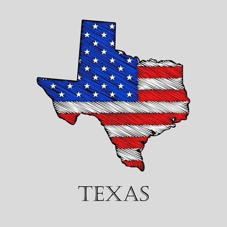 imposition: State Texas in scribble style - vector illustration. Abstract flat map of Texas with the imposition of US flag.