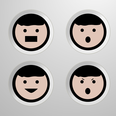 four eyes: Four emotion of face. Set of four icons - vector illustration.