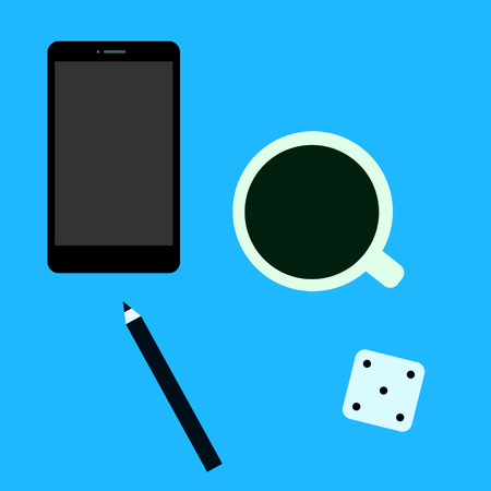 cup four: Telephone, pencil, coffee cup and dice on a blue background. Icons in flat style - vector illustration. Illustration