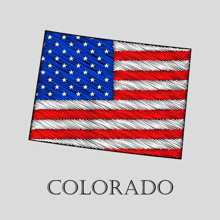 state of colorado: State Colorado in scribble style - vector illustration. Abstract flat map of Colorado with the imposition of US flag.