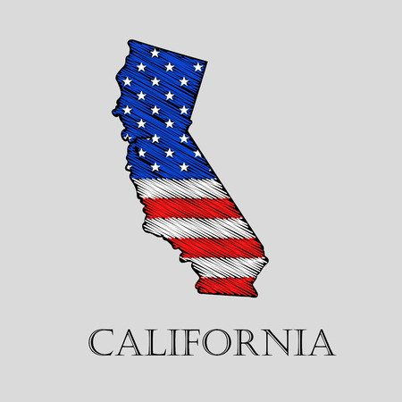 imposition: State California in scribble style - vector illustration. Abstract flat map of California with the imposition of US flag. Illustration