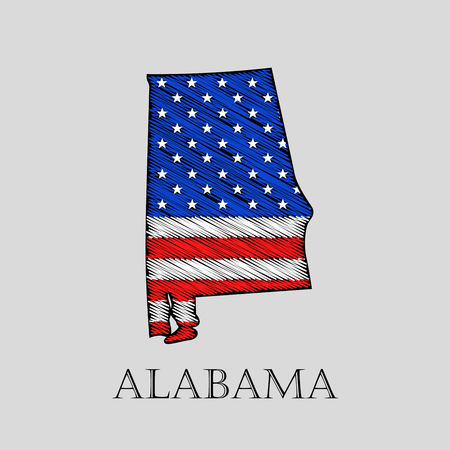 imposition: State Alabama in scribble style - vector illustration. Abstract flat map of Alabama with the imposition of US flag.