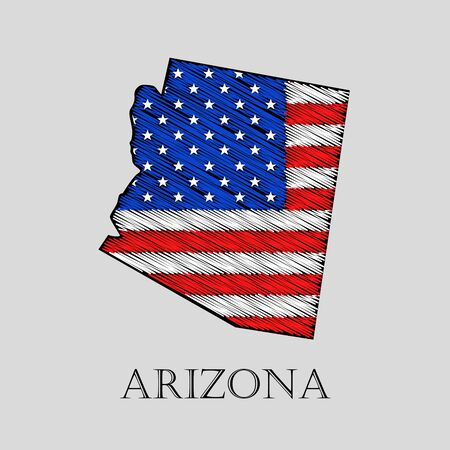 imposition: State Arizona in scribble style - vector illustration. Abstract flat map of Arizona with the imposition of US flag.