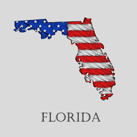 imposition: State Florida in scribble style - vector illustration. Abstract flat map of Florida with the imposition of US flag.