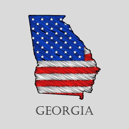 imposition: State Georgia in scribble style - vector illustration. Abstract flat map of Georgia with the imposition of US flag.