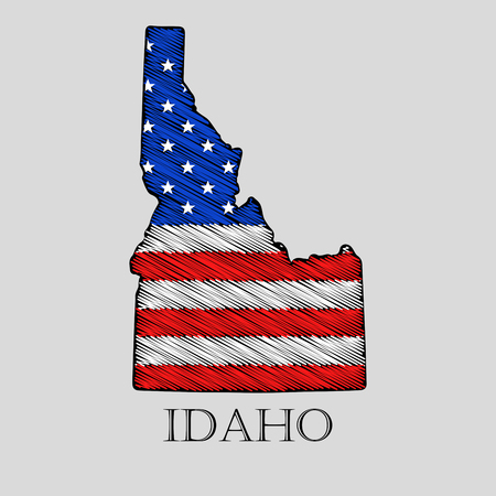 imposition: State Idaho in scribble style - vector illustration. Abstract flat map of Idaho with the imposition of US flag.