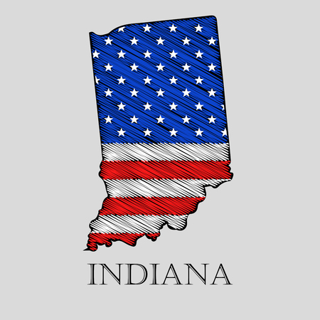 imposition: State Indiana in scribble style - vector illustration. Abstract flat map of Indiana with the imposition of US flag. Illustration