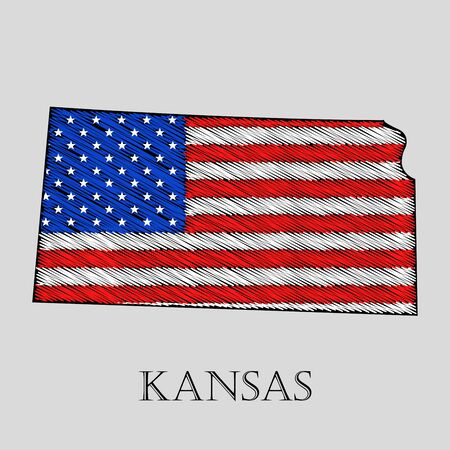 imposition: State Kansas in scribble style - vector illustration. Abstract flat map of Kansas with the imposition of US flag.