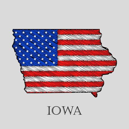 imposition: State Iowa in scribble style - vector illustration. Abstract flat map of Iowa with the imposition of US flag.