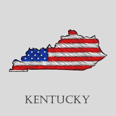 imposition: State Kentucky in scribble style - vector illustration. Abstract flat map of Kentucky with the imposition of US flag.
