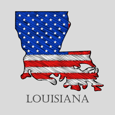 imposition: State Louisiana in scribble style - vector illustration. Abstract flat map of Louisiana with the imposition of US flag.