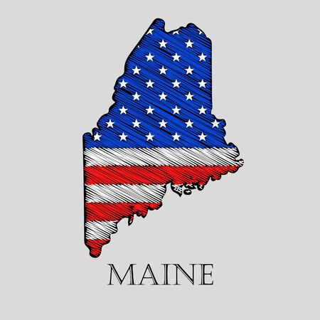 imposition: State Maine in scribble style - vector illustration. Abstract flat map of Maine with the imposition of US flag.
