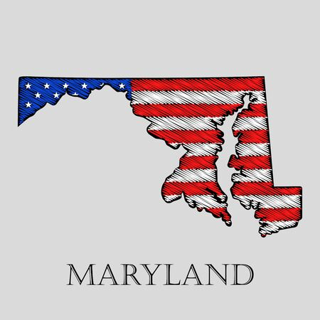imposition: State Maryland in scribble style - vector illustration. Abstract flat map of Maryland with the imposition of US flag. Illustration