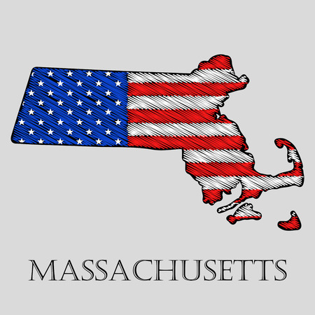 imposition: State Massachusetts in scribble style - vector illustration. Abstract flat map of Massachusetts with the imposition of US flag. Illustration