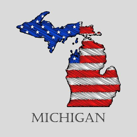 imposition: State Michigan in scribble style - vector illustration. Abstract flat map of Michigan with the imposition of US flag. Illustration
