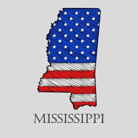 imposition: State Mississippi in scribble style - vector illustration. Abstract flat map of Mississippi with the imposition of US flag.