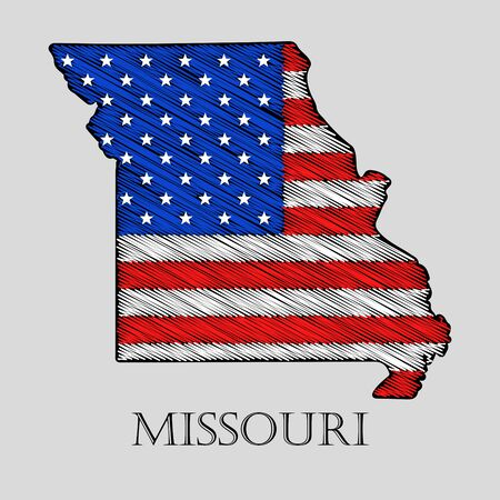 imposition: State Missouri in scribble style - vector illustration. Abstract flat map of Missouri with the imposition of US flag.