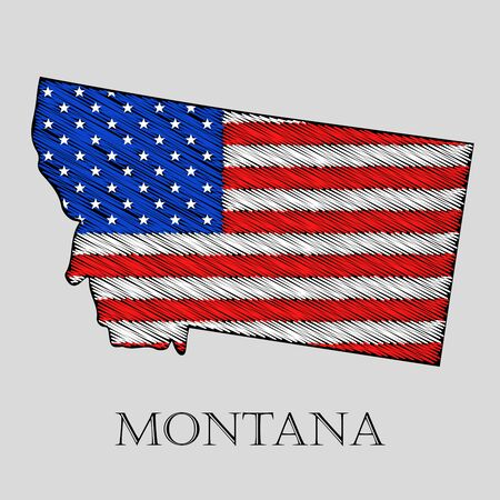 imposition: State Montana in scribble style - vector illustration. Abstract flat map of Montana with the imposition of US flag. Illustration