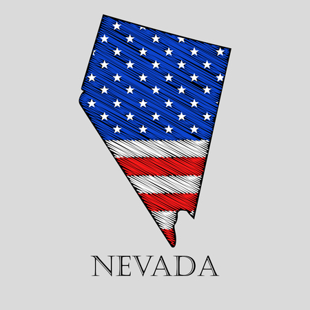 imposition: State Nevada in scribble style - vector illustration. Abstract flat map of Nevada with the imposition of US flag.