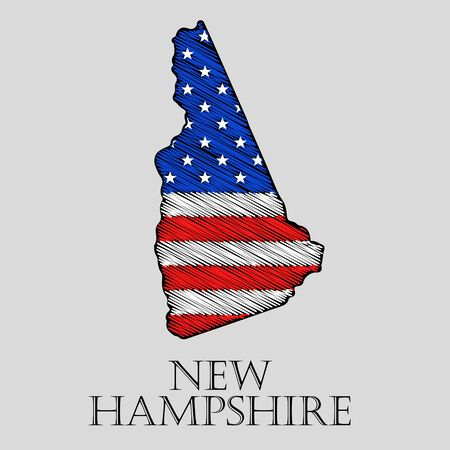 imposition: State New Hampshire in scribble style - vector illustration. Abstract flat map of New Hampshire with the imposition of US flag. Illustration