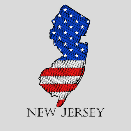new jersey: State New Jersey in scribble style - vector illustration. Abstract flat map of New Jersey with the imposition of US flag.
