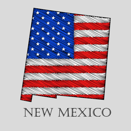 imposition: State New Mexico in scribble style - vector illustration. Abstract flat map of New Mexico with the imposition of US flag.