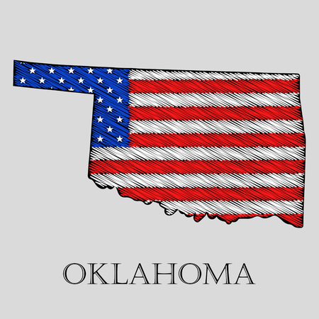 imposition: State Oklahoma in scribble style - vector illustration. Abstract flat map of Oklahoma with the imposition of US flag.