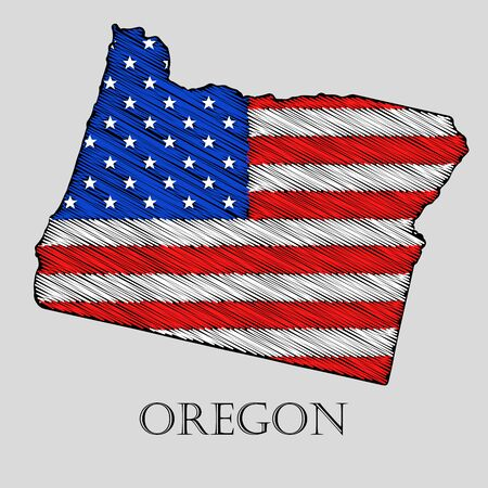 imposition: State Oregon in scribble style - vector illustration. Abstract flat map of Oregon with the imposition of US flag.